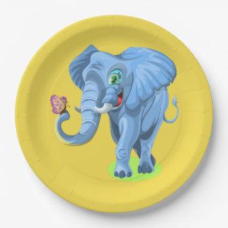 Customize Cute Blue Elephant Paper Plate