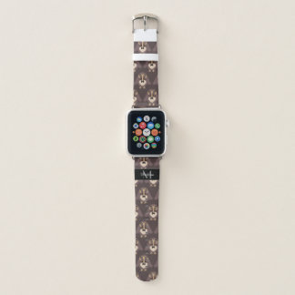 Customize Cute Brown owl with Mustache Monogram Apple Watch Band