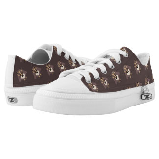 Customize Cute Brown owl with Mustache pattern Low Tops