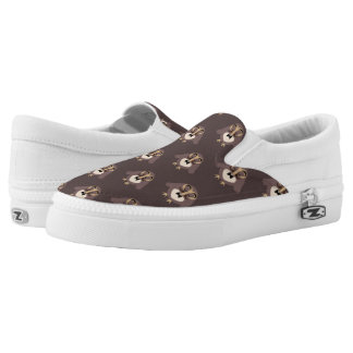 Customize Cute Brown owl with Mustache pattern Slip-On Shoes