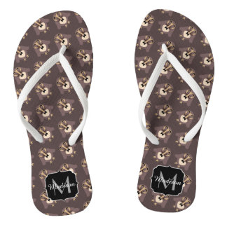 Customize Cute Brown owl with Mustache pattern Thongs
