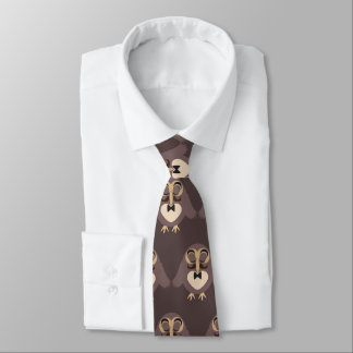 Customize Cute Brown owl with Mustache pattern Tie