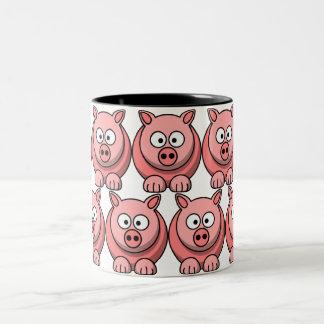 Customize Cute Pig Two-Tone Coffee Mug