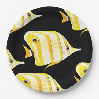 Customize Cute Yellow Fishes Party Paper Plate
