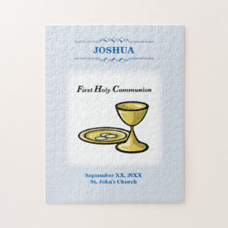 Customize, First Communion Body and Blood, Blue Jigsaw Puzzle