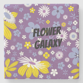 Customize Flower Galaxy Stone Coaster