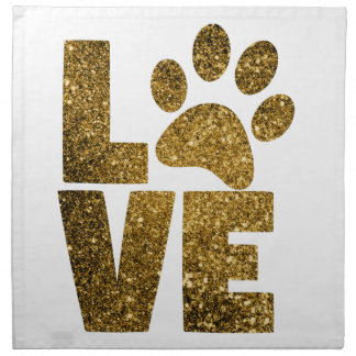 Customize Golden Glitter Love Text with Animal Paw Napkin