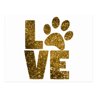 Customize Golden Glitter Love Text with Animal Paw Postcard