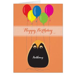 Customize Happy Birthday with a Lucky Owl Card