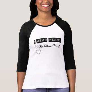 Customize I Wear Pearl Ribbon Lung Cancer Shirts