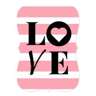 Customize Invitation - Love - Pink Stripes