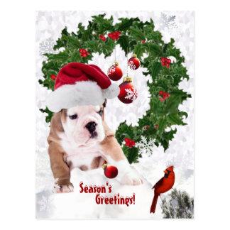 Customize It! - Bulldog Puppy Christmas Version 2 Postcard