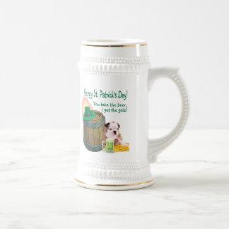 Customize It! Bulldog Puppy St Patrick's Day Stein Mug