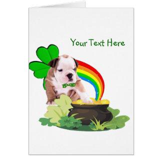 Customize It! Bulldog Puppy St. Patrick's Day Card