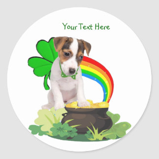 Customize It! Jack Russell St. Patricks Day Design Classic Round Sticker