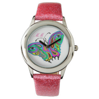 Customize It Watch with Butterfly Abstract Design