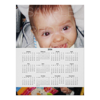 Customize it with Your photo | White Calendar 2016 Poster