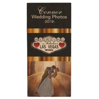 Customize Las Vegas Wedding Photo Design Wood USB 2.0 Flash Drive