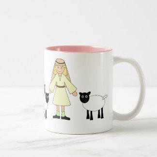 Customize Me -- Children's Nativity Shepherd Girl Two-Tone Coffee Mug