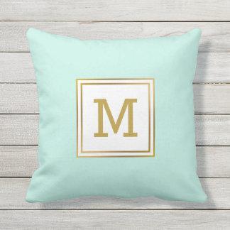 Customize Modern Gold Monogram Mint Green Preppy Outdoor Cushion