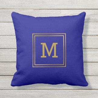 Customize Modern Gold Monogram Navy Blue Preppy Outdoor Cushion