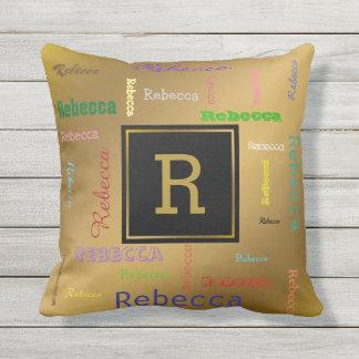 Customize Modern Gold Monogram Typography Names Cushion