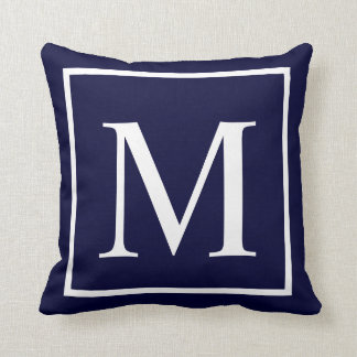 Customize monogram on navy blue cushion