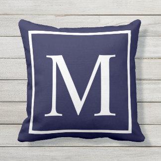 Customize monogram text on navy blue cushion