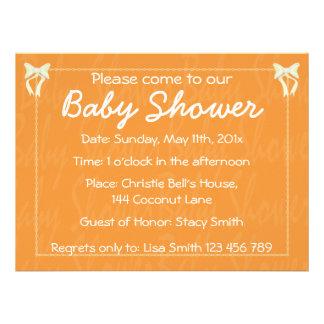 Customize Orange Baby shower invitation