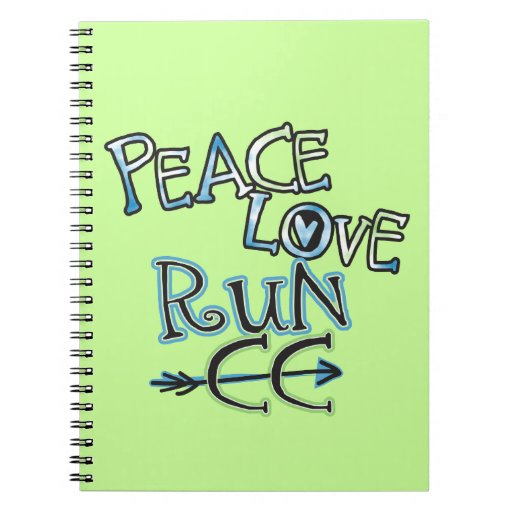 Customize - PEACE LOVE RUN - Cross Country Running Note Books