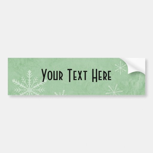 CUSTOMIZE PERSONALIZE Snowflake Paper 3 - Green Bumper Stickers