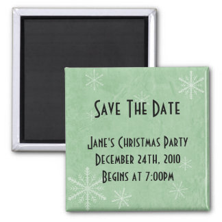 CUSTOMIZE PERSONALIZE Snowflake Paper 3 - Green Square Magnet