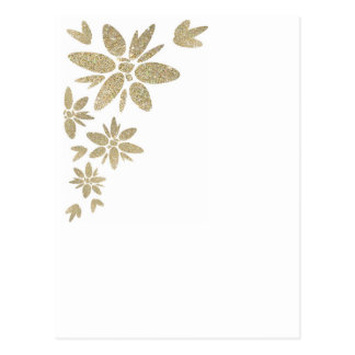 Customize Product gold sparkle flowers on white Postcard