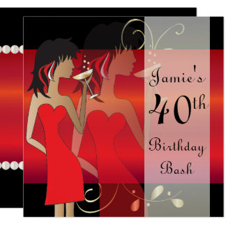 Customize Red Birthday Bash Party Invitation