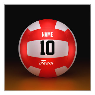 Customize Red Volleyball Photo