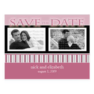 Customize Rose Save the Date Stripes Postcard