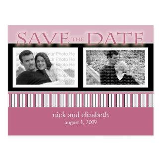 Customize Rose Save the Date Stripes Postcard