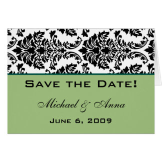 Customize Save The Date Baroque Black and Green Card