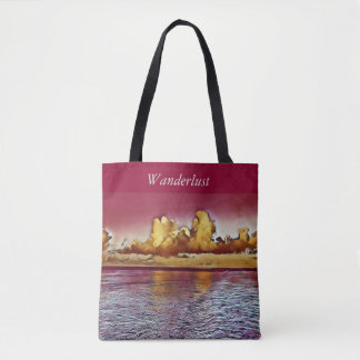 Customize Seascape Burgundy Wine 'Wonderlust' Tote Bag