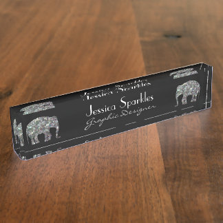 Customize Sparkly colorful silver mosaic Elephants Nameplate