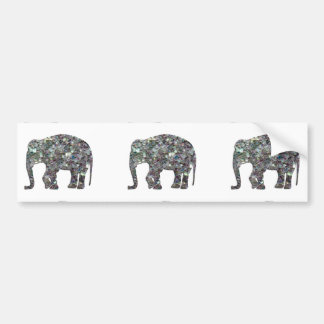 Customize Sparkly colourful silver mosaic Elephant Bumper Sticker