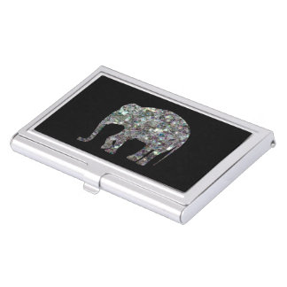 Customize Sparkly colourful silver mosaic Elephant Business Card Holders