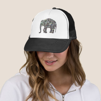 Customize Sparkly colourful silver mosaic Elephant Trucker Hat