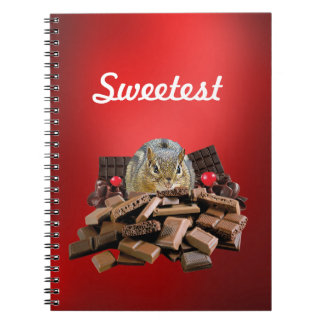 Customize Sweetest Day Chocolate Chipmunk Spiral Notebook