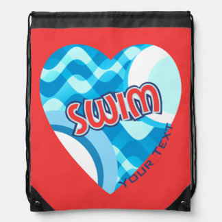 Customize SWIM Water Waves and Heart Drawstring Bag