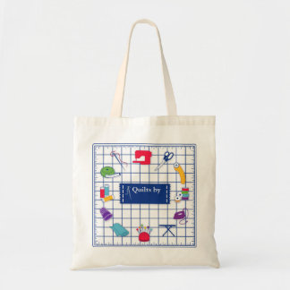 Customize the Label Quilt Time Tote Bag
