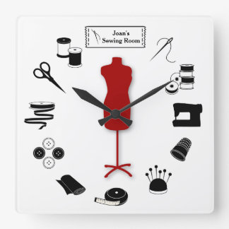Customize the Label Sew Right Square Wall Clock