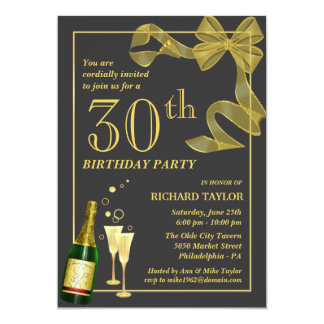 "Customize the Year 30th Birthday Party Invitations 5"" X 7"" Invitation Card"