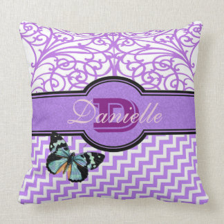Customize these fancy purple and butterfly throw pillow
