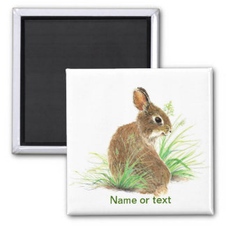 Customize this Curious Rabbit, Watercolor Animal Magnet